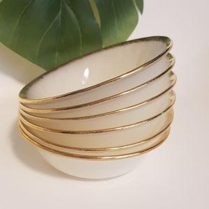 Set of 6 Fire King Gold Rim Milk Glass Bowls